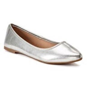 So Hitide Silver Ballet Flats, size 8